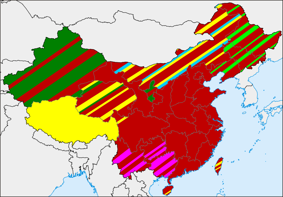 Distribution of religions in China