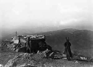 Vardar Offensive - A Bulgarian telephone station at Lake Doiran, March 1917