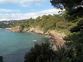 A view from the coastal path of the Domaine Rayol