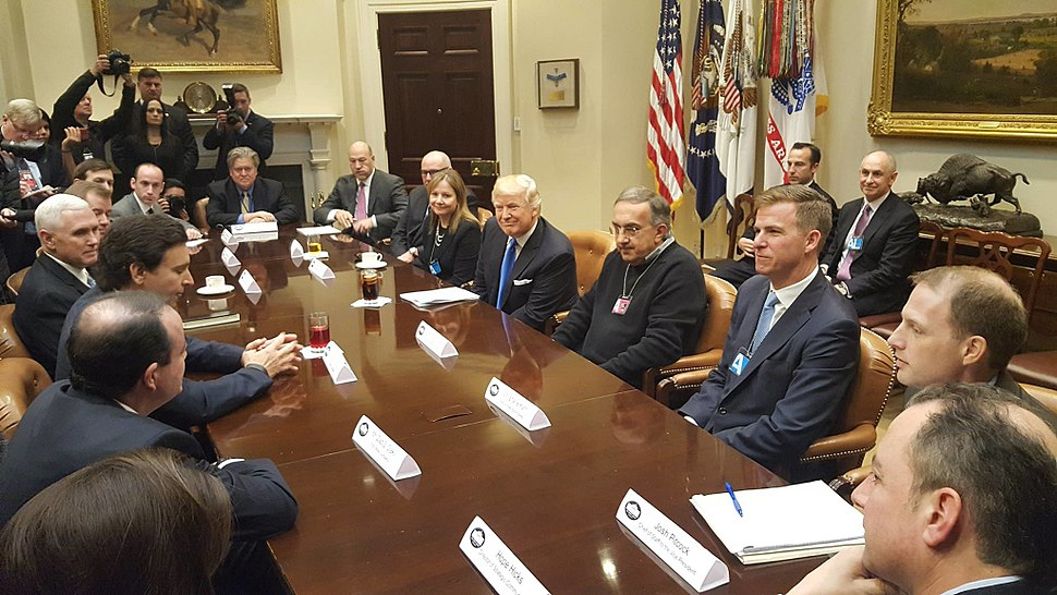 Donald Trump and Mike Pence meet with automobile industry leaders