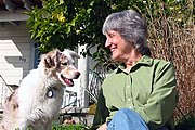 Donna Haraway, author of A Cyborg Manifesto, with her dog Cayenne