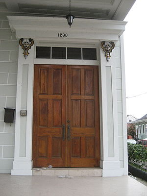 Transom (architectural) - A transom and transom light over double doors