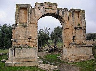 Arch of Alexander Severus triumphal arch in Dougga, Tunisia