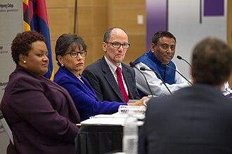 DeRionne P. Pollard - Left to right: Dr. DeRionne Pollard, Penny Pritzker, Thomas Perez, and Dr. Sanjay Rai