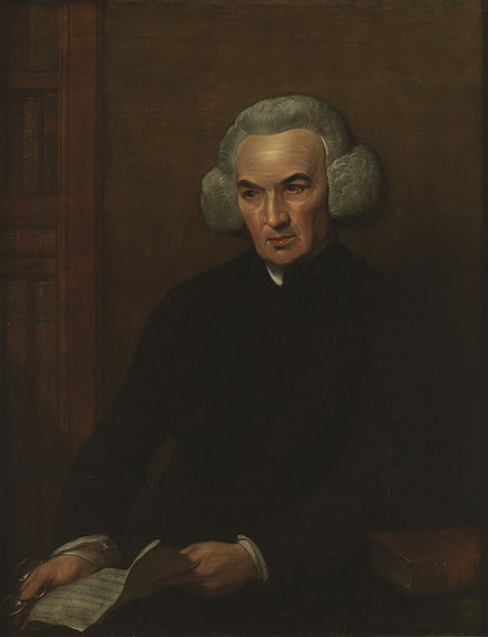 Dr Richard Price, the radical minister of Newington Green Unitarian Church, holding a letter from Franklin Dr Richard Price, DD, FRS - Benjamin West.jpg