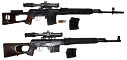 """Pair of Dragunovs imported to US as Tigers. Top rifle has cheek pad, two 10-round magazines, and flash suppressor. Bottom rifle was marketed as a hunting """"carbine"""". It has no cheek pad, two 5-round magazines, and no flash suppressor. Both have wooden stocks and polymer foregrips."""