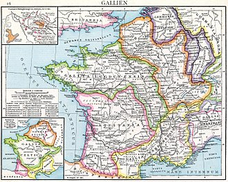 Gallia Belgica - Map of Roman Gaul with Belgica in orange (Droysens Allgemeiner historischer Handatlas, 1886)