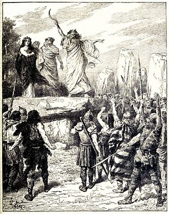 Druid - Druids Inciting the Britons to Oppose the Landing of the Romans – from Cassell's History of England, Vol. I – anonymous author and artists