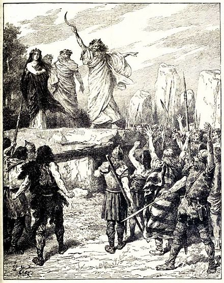 Druids Inciting the Britons to oppose the landing of the Romans - from Cassell's History of England, Vol. I - anonymous author and artists Druids Inciting the Britons to Oppose the Landing of the Romans.jpg
