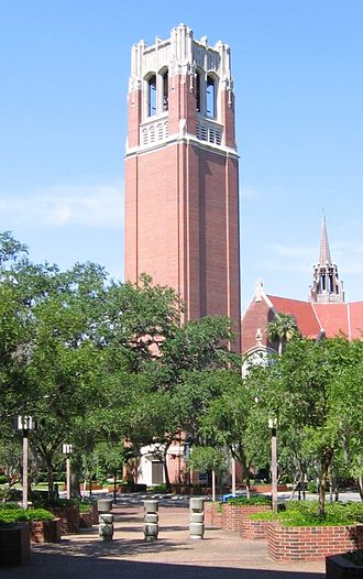 University of Florida - Century Tower, begun in 1953, to commemorate the 100th anniversary of the founding of university and as a tribute to the alumni who perished in both World War I and World War II.