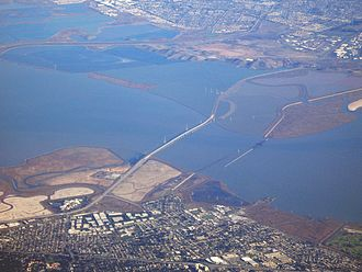 Dumbarton Bridge (California) - A view from the air, above Palo Alto, looking towards Fremont