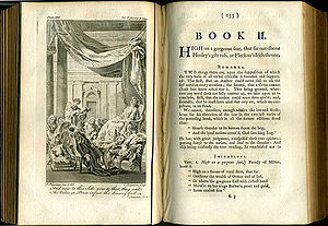 The Dunciad - Frontispiece Book II of 1760 London edition of Pope's works (Vol V), showing the Goddess surrounded by sleeping poets.