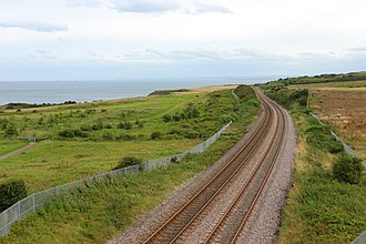 Durham Coast Line - Looking south eastwards towards Hartlepool along the line as it leaves Seaham, July 2017