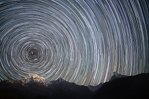 Earth's rotation - Long-exposure photograph of the northern night sky over the Nepal Himalayas, showing the paths of the stars as Earth rotates.