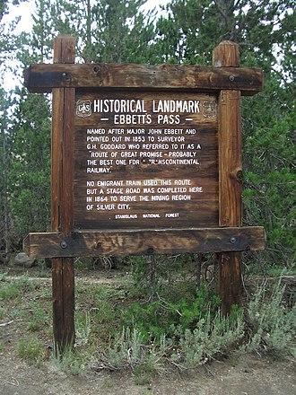 Ebbetts Pass - Historical marker at Ebbetts Pass