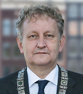 Government of Amsterdam - Eberhard van der Laan, mayor of Amsterdam from 2010 until his death in October 2017. Photograph taken in the plenary room of the Amsterdam municipal council.