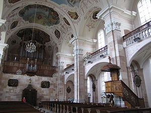 Church of Saint Maurice (Ebersmunster) - Inside the church, looking West
