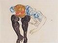 Egon Schiele - Blonde, vorgebeugt mit schwarzen Strüpfen - 1912.jpeg