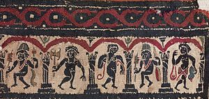Cult of Dionysus - Egyptian garment panel featuring Dionysiac themes, 5th century. The popularity of the cult of Dionysus, introduced to Egypt by the early Ptolemy rulers in the 3rd century BC,  continued into early Byzantine times (4th-7th century),