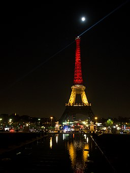Eiffel Tower with Belgium colors