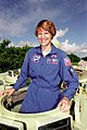 Eileen Collins climbing into an M-113.jpg