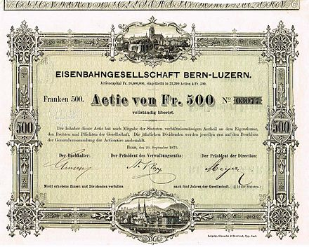 Share certificate of the Bern-Lucerne Railway Company of 20 September 1873