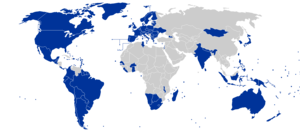 World map showing the 2008 (based in 2007 data...