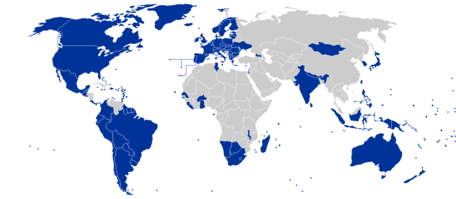 "Countries designated ""electoral democracies"" in Freedom House's 2017 survey Freedom in the World, covering the year 2016. Electoral democracies.png"