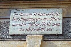 Photo of Elias Holl white plaque