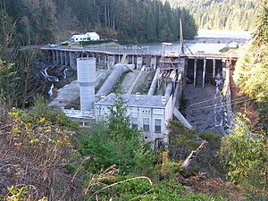 Elwha River - Elwha Dam with Lake Aldwell behind. The power house can be seen in the center.