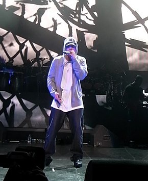 Eminem a atuar no festival DJ Hero Party em 2009.