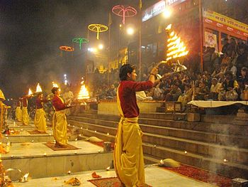 English: Evening Ganga Aarti, at Dashashwamedh...