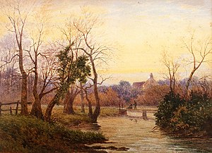 River Tillingbourne - Evening on the Tillingbourne (1889) by Lewis Pinhorn Wood