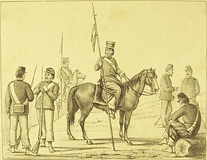 Paraguayan Army - Uniforms of cavalry and infantry of the Paraguayan army at the time of the War of the Triple Alliance.