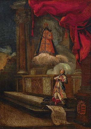 Einsiedeln - Painting showing a kneeling nobleman before the Black Madonna, 1781