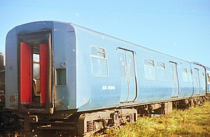 British Rail Classes 445 and 446 - PEP coach on the scrapline at Long Marston in 1986