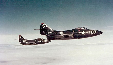 F9F-2 Panthers over Korea, with Armstrong piloting S-116 (left) F9F-2 Panthers VF-51 over Korea 1951.jpg