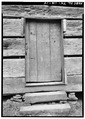 FRONT DOOR DETAIL - Little Greenbrier School and Church House, Wear Valley, Sevier County, TN HABS TENN,78-ELK.V,1-14.tif