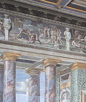 "Villa Farnesina - Detail of frescoes in the ""Perspectives' Hall"" by Baldassarre Peruzzi."