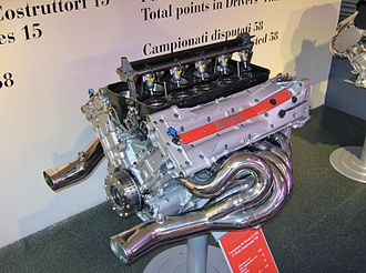 Tuned exhaust - Ferrari V10 engine showing one of its two tuned extractor manifolds