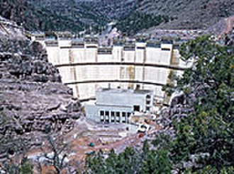Flaming Gorge Dam - Construction work on Flaming Gorge Dam, 1962