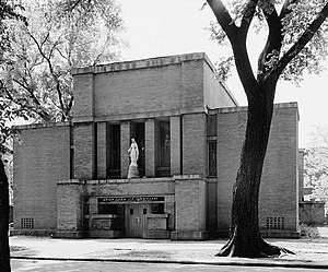 First Congregational Church of Austin - Photo of the church from the Historic American Buildings Survey (the statue was not part of the original design by Drummond)