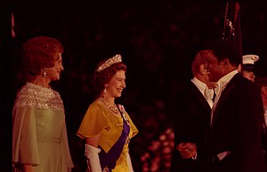 A woman in a gold gown with a purple sash across it and a crown on her head smiles at a man with short black hair in a tuxedo who smiles back, while at the left side of the photo, a woman in a green dress with sparkly flowers at the top observes the meeting