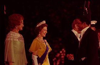 Willie Mays - Mays with Queen Elizabeth II (center) and First Lady Betty Ford (left) at the White House in 1976