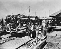 First Mount Lowe Railway car to leave Altadena for Rubio Canyon, July 4, 1893 (CHS-40191).jpg