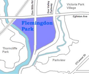 Flemingdon Park - Image: Flemingdon Park map