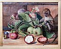 Flowers and fruit of the mangosteen, and Singapore monkey, by Marianne North.jpg
