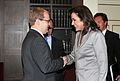 Foreign Minister Urmas Paet and his Greek colleague Dora Bakoyannis in Athens (2485851271).jpg