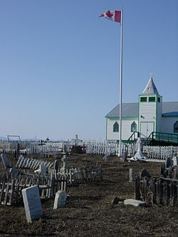A wooden church in Fort McPherson, NWT