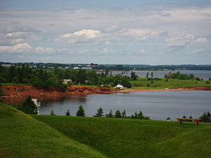 Port-la-Joye–Fort Amherst - Warren Cove in Charlottetown Harbour, as viewed from the earthworks of Fort Amherst.